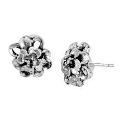 3.89gms indonesian bali style solid 925 sterling silver flower earrings c5381