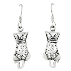 3.02gms indonesian bali style solid sterling silver cat charm earrings c3652
