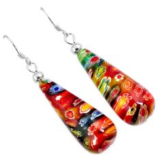 Italian murano flower glass 925 sterling silver dangle earrings jewelry h54147