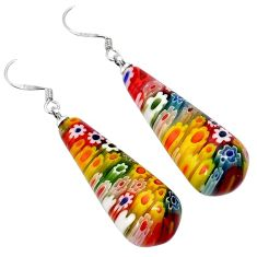 Italian murano flower glass 925 sterling silver dangle earrings jewelry h54148