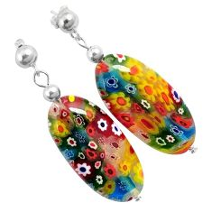 Italian murano flower glass 925 sterling silver dangle earrings jewelry h54157