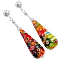 Italian murano flower glass 925 sterling silver dangle earrings jewelry h54160