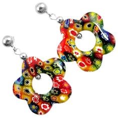 Italian murano flower glass 925 sterling silver flower dangle earrings h54152