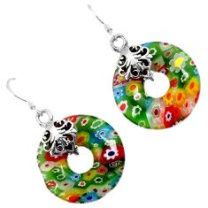 Italian murano glass 925 sterling silver donut dangle earrings jewelry h54144