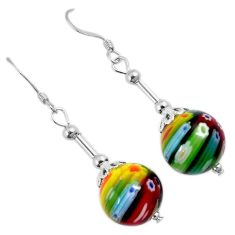 Italian murano glass round 925 sterling silver dangle earrings jewelry h54151