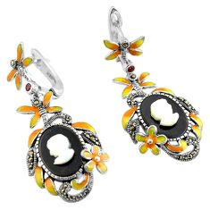 12.31cts lady face cameo smoky topaz enamel 925 silver earrings jewelry c4507