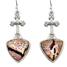 17.11ct natural sonoran dendritic rhyolite 925 silver holy cross earrings r45349