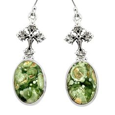 18.57ct natural rainforest rhyolite jasper 925 silver holy cross earrings r46062