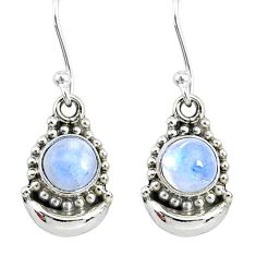 2.30ct natural rainbow moonstone 925 sterling silver dangle moon earrings r89358