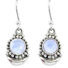 2.30ct natural rainbow moonstone 925 sterling silver dangle moon earrings r89359