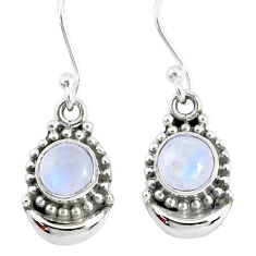 2.30ct natural rainbow moonstone 925 sterling silver dangle moon earrings r89378