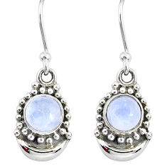 2.32ct natural rainbow moonstone 925 sterling silver dangle moon earrings r89379
