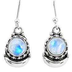 2.46ct natural rainbow moonstone 925 sterling silver dangle moon earrings r89234