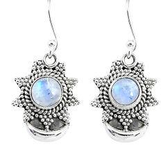 2.50ct natural rainbow moonstone 925 sterling silver dangle moon earrings r89159