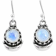 2.53cs natural rainbow moonstone 925 sterling silver dangle moon earrings r89258