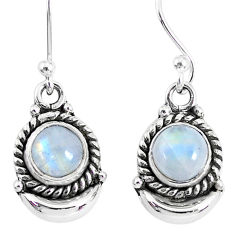 2.53ct natural rainbow moonstone 925 sterling silver dangle moon earring r89198