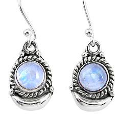 2.53ct natural rainbow moonstone 925 sterling silver dangle moon earring r89214