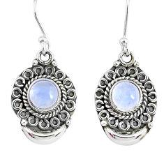 2.57ct natural rainbow moonstone 925 sterling silver dangle moon earrings r89339