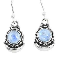 2.63ct natural rainbow moonstone 925 sterling silver dangle moon earrings r89260