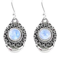 2.66ct natural rainbow moonstone 925 sterling silver dangle moon earrings r89338