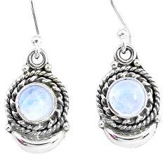 2.70ct natural rainbow moonstone 925 sterling silver dangle moon earrings r89278
