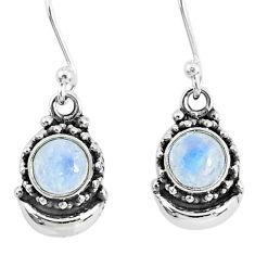 2.81ct natural rainbow moonstone 925 sterling silver dangle moon earrings r89259