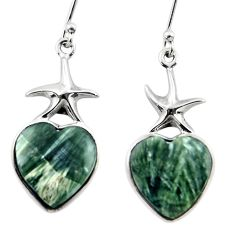 925 silver 10.78ct natural heart seraphinite star fish earrings jewelry r46813