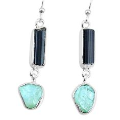 925 silver 11.71cts aquamarine black tourmaline raw dangle earrings r74312