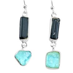 925 silver 12.99cts aquamarine black tourmaline raw dangle earrings r74318
