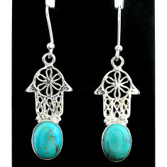 925 silver 5.57cts arizona mohave turquoise hand of god hamsa earrings t37344