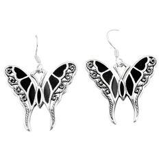 925 silver 6.26gms black onyx enamel butterfly earrings jewelry a88457 c13648