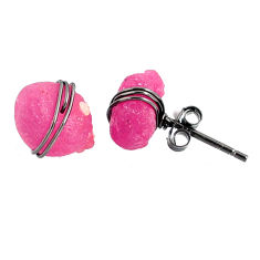 925 silver 8.43cts black rhodium natural pink ruby raw stud earrings r79657