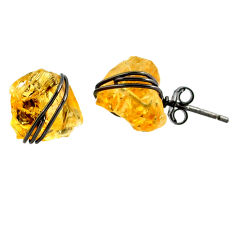 925 silver 8.38cts black rhodium yellow citrine raw stud earrings r79664