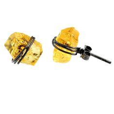 925 silver 8.79cts black rhodium yellow citrine raw stud earrings r79667