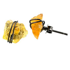 925 silver 6.58cts black rhodium yellow citrine raw stud earrings r79670