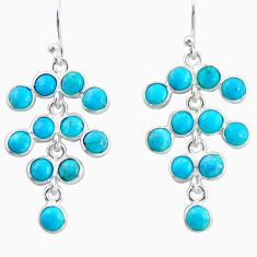 925 silver 10.08cts blue arizona mohave turquoise chandelier earrings r35624