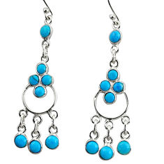 925 silver 8.51cts blue arizona mohave turquoise chandelier earrings r35664