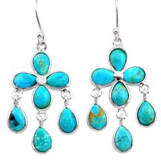 925 silver 11.87cts blue arizona mohave turquoise chandelier earrings t34051