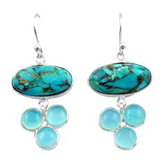925 silver 17.35cts blue copper turquoise chalcedony dangle earrings r40410