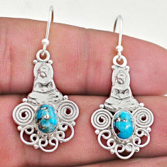 925 silver 3.13cts blue copper turquoise dangle buddha charm earrings t46960