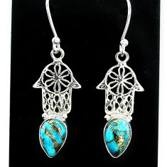 925 silver 3.83cts blue copper turquoise hand of god hamsa earrings t37378