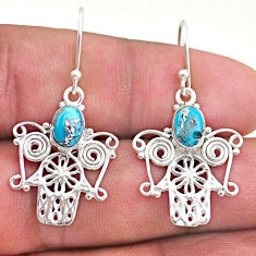 925 silver 3.40cts blue copper turquoise hand of god hamsa earrings t46949