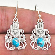 925 silver 3.91cts blue copper turquoise hand of god hamsa earrings t46952