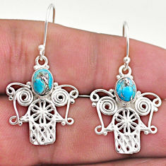 925 silver 2.98cts blue copper turquoise hand of god hamsa earrings t46964
