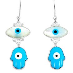 925 silver 7.39cts blue evil eye talismans hand of god hamsa earrings t20544