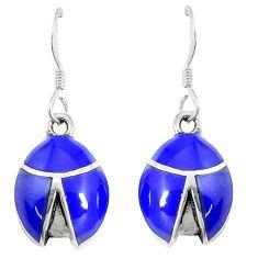 925 silver 3.89gms blue lapis lazuli enamel dangle earrings jewelry c11761