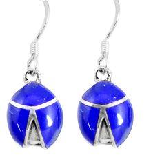 925 silver 4.02gms blue lapis lazuli enamel dangle earrings jewelry c11767
