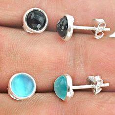 925 silver 4.26cts chalcedony australian obsidian 2 pair studs earrings t50880