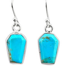 925 silver 6.95cts coffin arizona mohave turquoise dangle earrings r79997