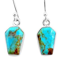 925 silver 7.01cts coffin arizona mohave turquoise dangle earrings r80000